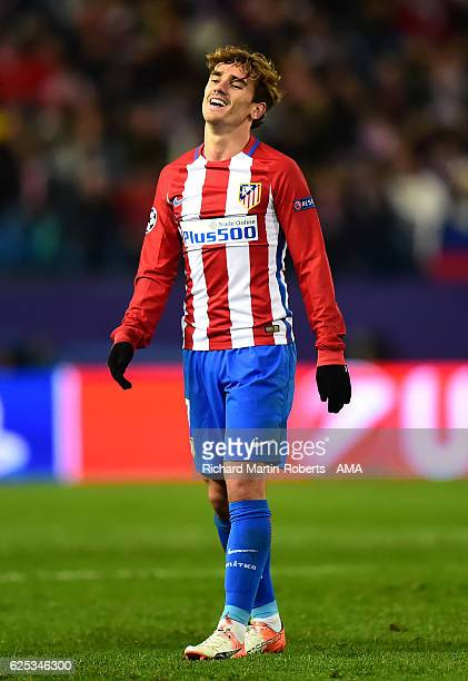Antoine Griezmann of Atletico Madrid reacts during the UEFA Champions League match between Club Atletico de Madrid and PSV Eindhoven at Vicente...