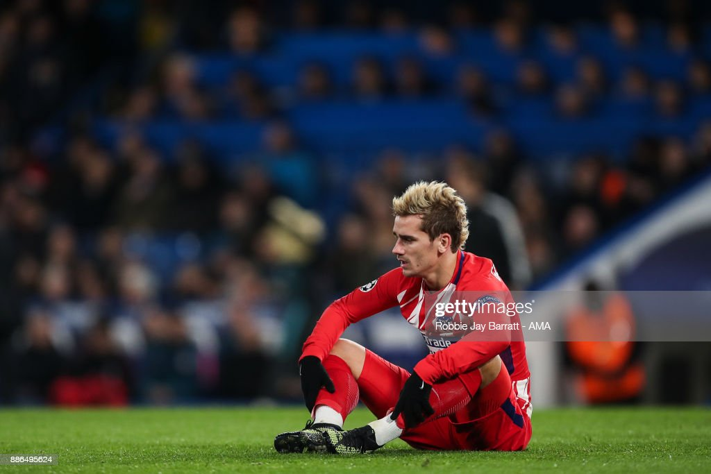 Antoine Griezmann of Atletico Madrid reacts during the UEFA Champions League group C match between Chelsea FC and Atletico Madrid at Stamford Bridge on December 5, 2017 in London, United Kingdom.