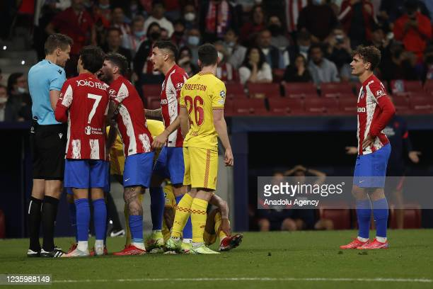 Antoine Griezmann of Atletico Madrid receives red card during the UEFA Champions League Group B soccer match between Atletico Madrid and Liverpool at...