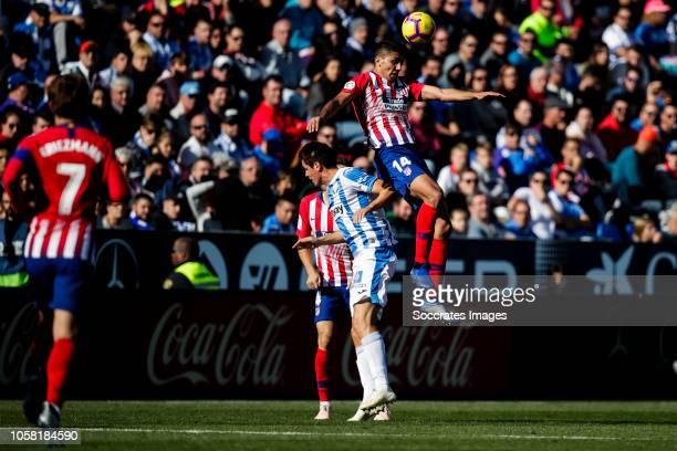Antoine Griezmann of Atletico Madrid Recio of Leganes Rodri of Atletico Madrid during the La Liga Santander match between Leganes v Atletico Madrid...