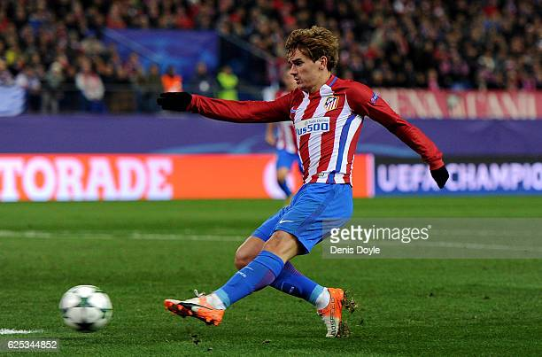 Antoine Griezmann of Atletico Madrid scores his sides second goal during the UEFA Champions League Group D match between Club Atletico de Madrid and...