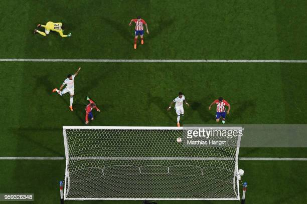Antoine Griezmann of Atletico Madrid scores his team's second goal of the game during the UEFA Europa League Final between Olympique de Marseille and...