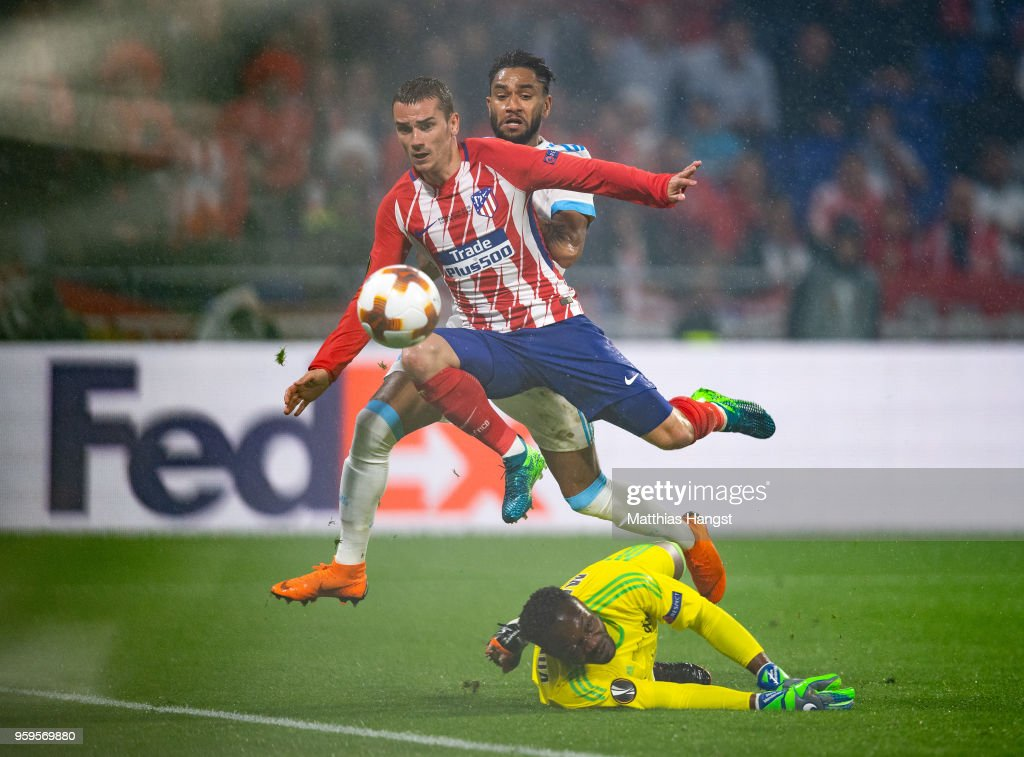 Antoine Griezmann of Atletico Madrid scores his team's second goal of the game during the UEFA Europa League Final between Olympique de Marseille and Club Atletico de Madrid at Stade de Lyon on May 16, 2018 in Lyon, France.