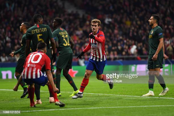 Antoine Griezmann of Atletico Madrid scores his team's second goal during the UEFA Champions League Group A match between Club Atletico de Madrid and...