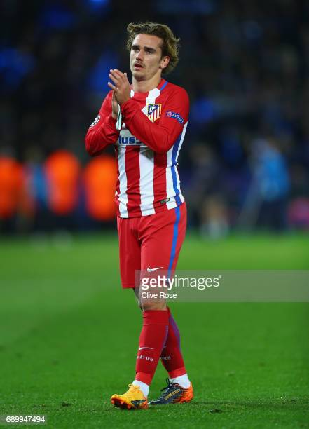 Antoine Griezmann of Atletico Madrid shows appreciation to the fans after the UEFA Champions League Quarter Final second leg match between Leicester...