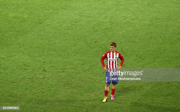 Antoine Griezmann of Atletico Madrid shows his dejection during the UEFA Champions League Final match between Real Madrid and Club Atletico de Madrid...