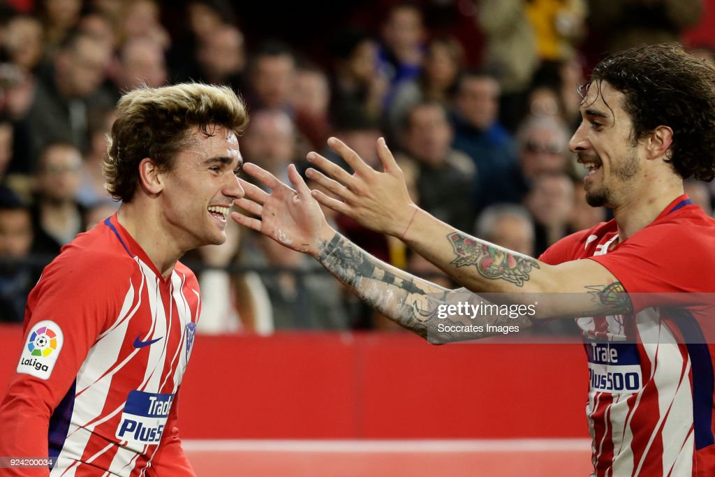 Antoine Griezmann of Atletico Madrid, Sime Vrsaljko of Atletico Madrid during the La Liga Santander match between Sevilla v Atletico Madrid at the Estadio Ramon Sanchez Pizjuan on February 25, 2018 in Sevilla Spain