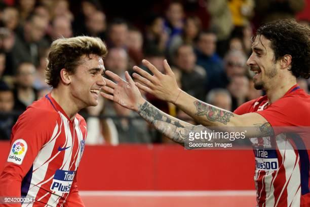 Antoine Griezmann of Atletico Madrid Sime Vrsaljko of Atletico Madrid during the La Liga Santander match between Sevilla v Atletico Madrid at the...