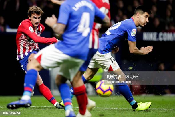 Antoine Griezmann of Atletico Madrid Yuri Berchiche of Athletic Bilbao during the La Liga Santander match between Atletico Madrid v Athletic de...