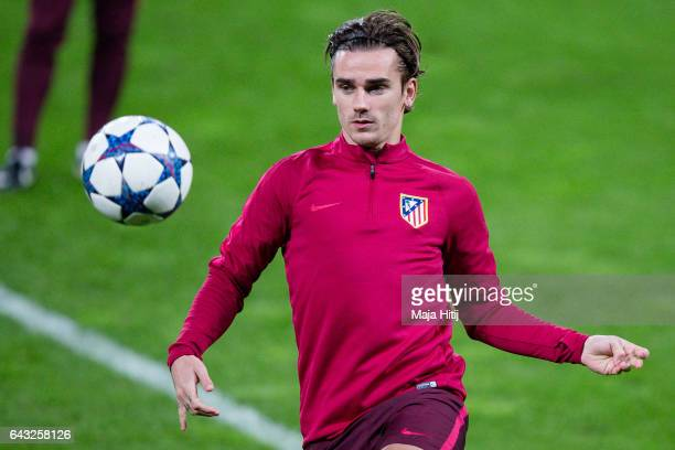 Antoine Griezmann of Atletico warms up during the training prior the UEFA Champions League Round of 16 first leg match between Bayer Leverkusen and...