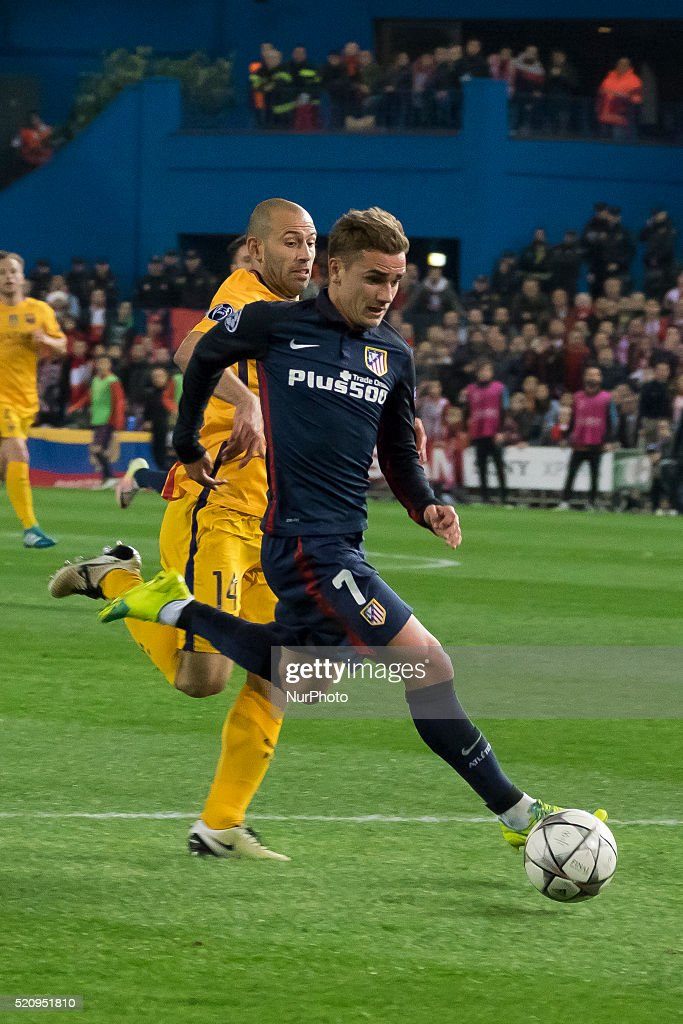 Antoine Griezmann of Barcelona during the UEFA Champions League quarter final, second leg match between Club Atletico de Madrid and FC Barcelona at the Vincente Calderon on April 13, 2016 in Madrid, Spain.