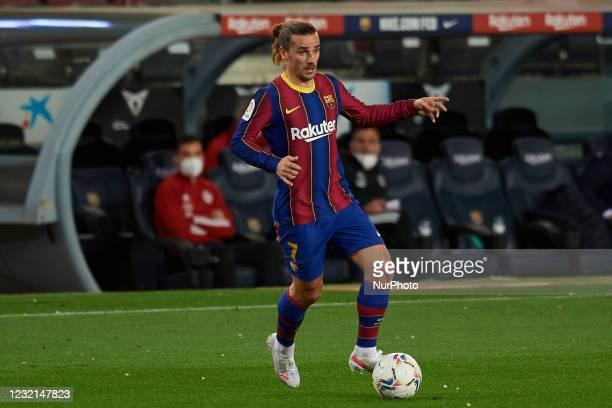 Antoine Griezmann of Barcelona in action during the La Liga Santander match between FC Barcelona and Real Valladolid CF at Camp Nou on April 5, 2021...