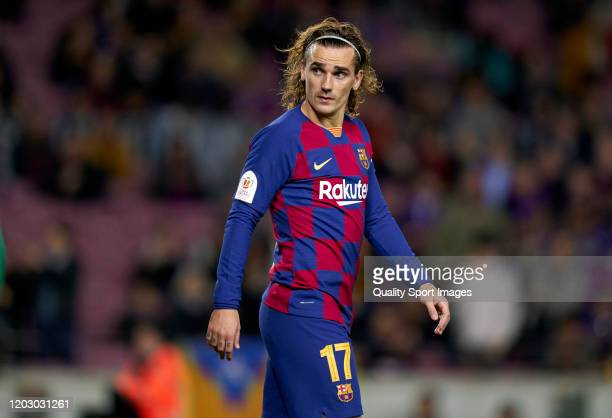 Antoine Griezmann of Barcelona looks on during the Copa del Rey Round of 16 match between FC Barcelona and Leganes at Camp Nou on January 30 2020 in...