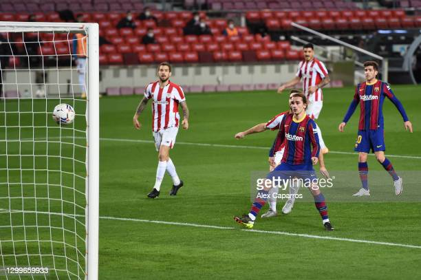 Antoine Griezmann of Barcelona scores their team's second goal during the La Liga Santander match between FC Barcelona and Athletic Club at Camp Nou...