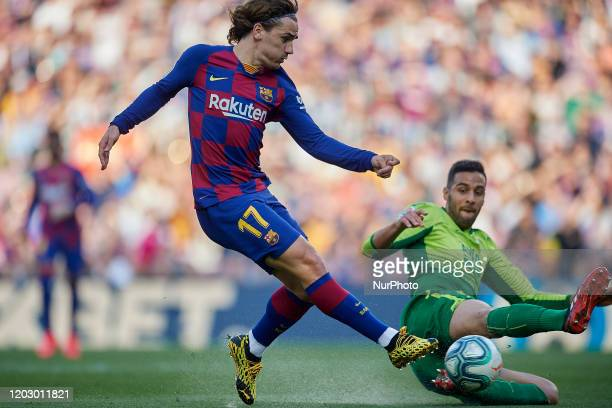 Antoine Griezmann of Barcelona shooting to goal during the Liga match between FC Barcelona and SD Eibar SAD at Camp Nou on February 22 2020 in...