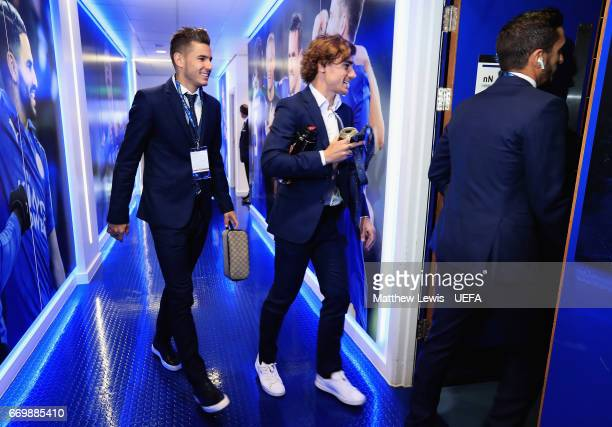 Antoine Griezmann of Club Atletico de Madrid arrives ahead of the UEFA Champions League Quarter Final second leg match between Leicester City and...
