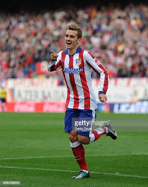 Antoine Griezmann of Club Atletico de Madrid celebrates after scoring his team's 2nd goal during the La Liga match between Club Atletico de Madrid...