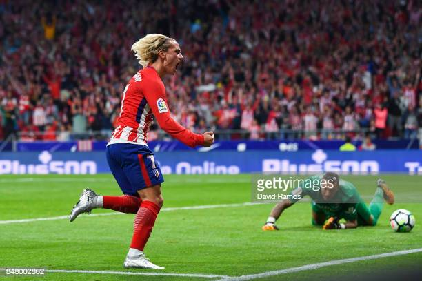 Antoine Griezmann of Club Atletico de Madrid celebrates after scoring his team's first goal during the La Liga match between Atletico Madrid and...