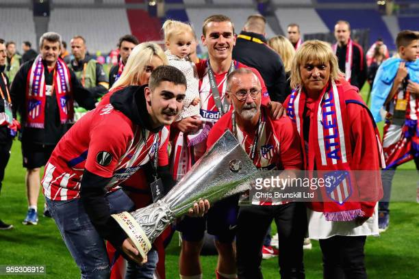 Antoine Griezmann of Club Atletico de Madrid celebrates after winning the UEFA Europa League Final between Olympique de Marseille and Club Atletico...