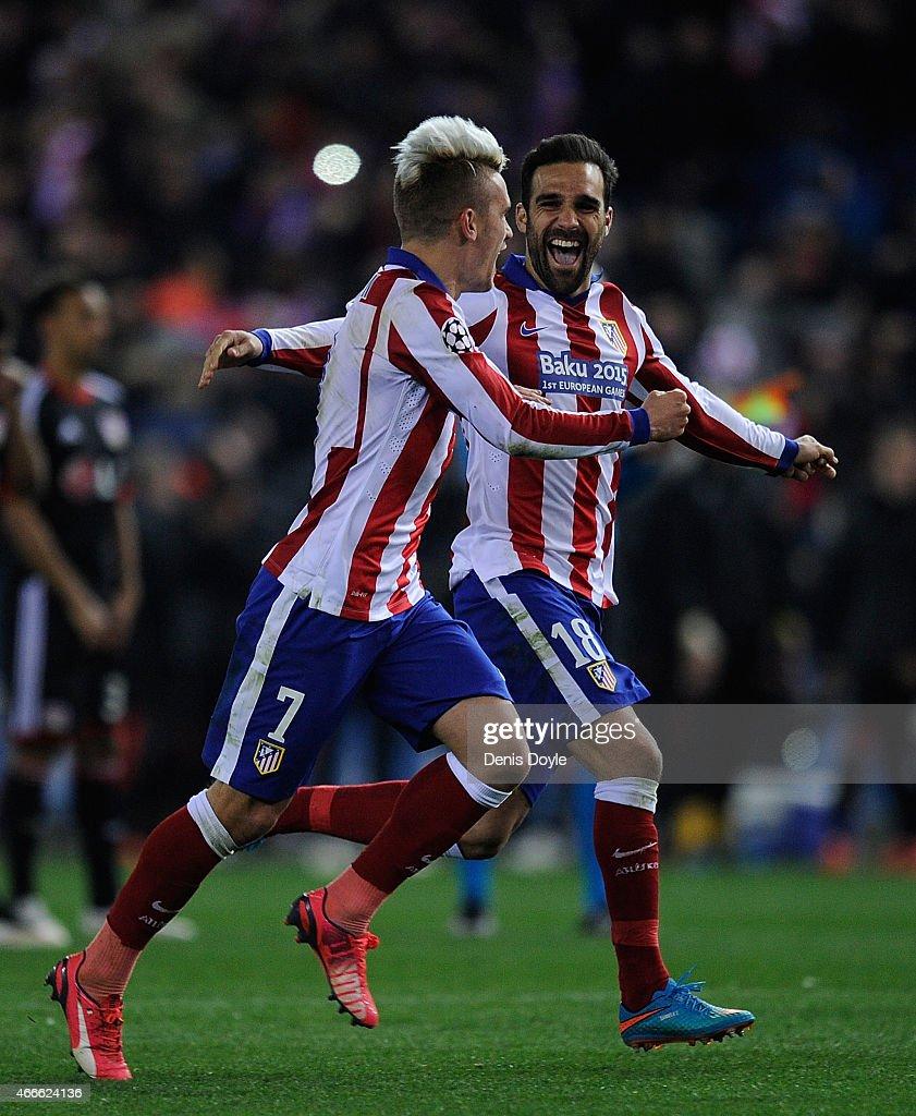Uefa Champions League Round Of: Antoine Griezmann Of Club Atletico De Madrid Celebrates