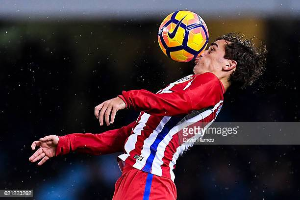 Antoine Griezmann of Club Atletico de Madrid controls the ball during the La Liga match between Real Sociedad de Futbol and Atletico de Madrid at...