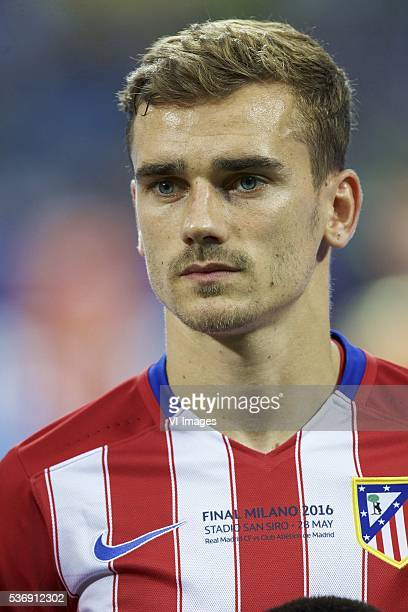 Antoine Griezmann of Club Atletico de Madrid during the UEFA Champions League final match between Real Madrid and Atletico Madrid on May 28 2016 at...