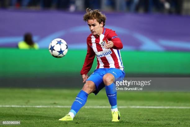 Antoine Griezmann of Club Atletico de Madrid in action during the UEFA Champions League Round of 16 second leg match between Club Atletico de Madrid...