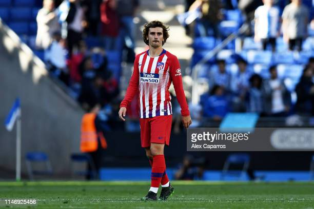 Antoine Griezmann of Club Atletico de Madrid looks dejected after seeing his side concede a third goal during the La Liga match between RCD Espanyol...