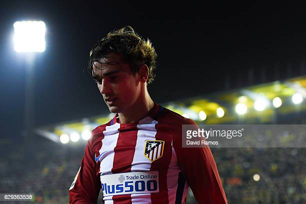 Antoine Griezmann of Club Atletico de Madrid reacts after missing a chance to score during the La Liga match between Villarreal CF and Club Atletico...
