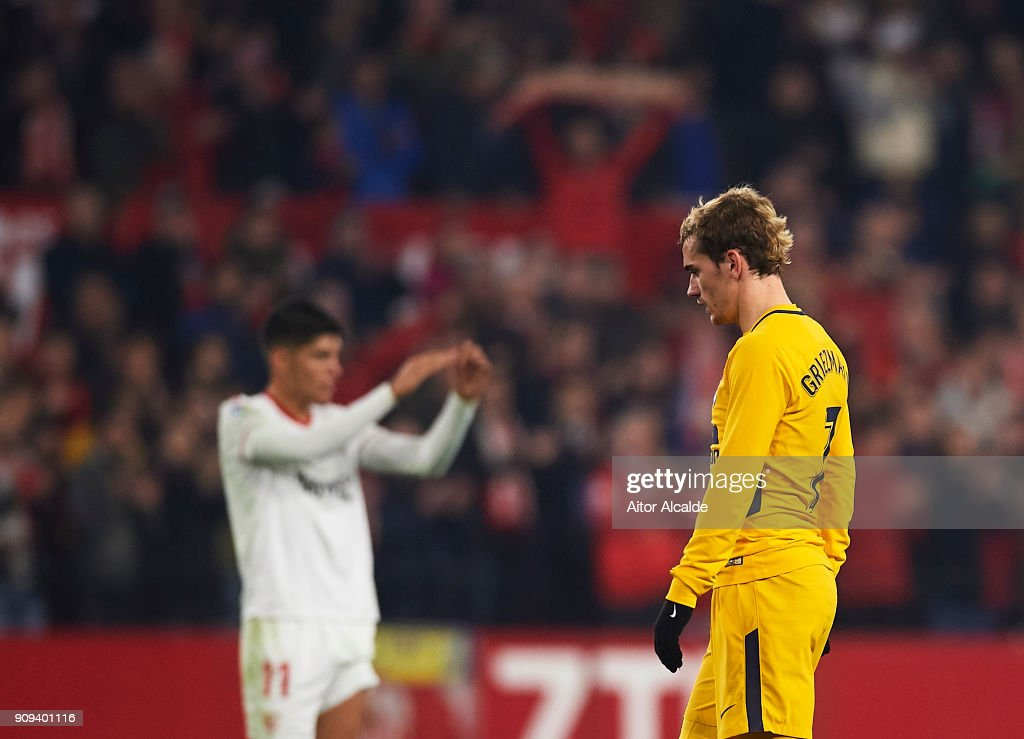Antoine Griezmann of Club Atletico de Madrid reacts during the Copa del Rey, Quarter Final, second Leg match between Sevilla FC and Atletico de Madrid at Estadio Ramon Sanchez Pizjuan on January 23, 2018 in Seville, Spain.