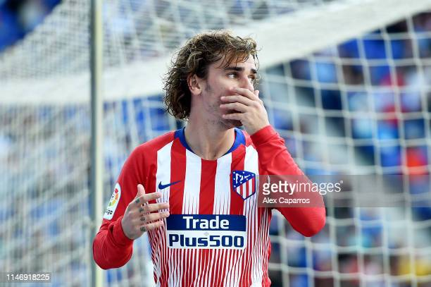 Antoine Griezmann of Club Atletico de Madrid reacts during the La Liga match between RCD Espanyol and Club Atletico de Madrid at RCDE Stadium on May...