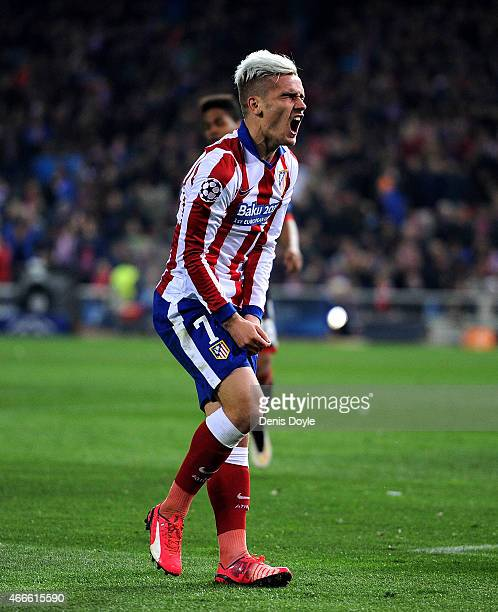 Antoine Griezmann of Club Atletico de Madrid reacts during the UEFA Champions League Round of 16 2nd leg match between Club Atletico de Madrid and...