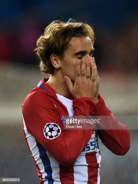Antoine Griezmann of Club Atletico de Madrid reacts during the UEFA Champions League Round of 16 second leg match between Club Atletico de Madrid and...