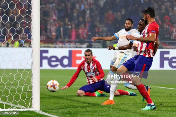 Antoine Griezmann of Club Atletico de Madrid scores his sides second goal during the UEFA Europa League Final between Olympique de Marseille and Club...