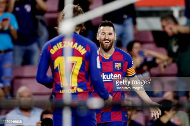 Antoine Griezmann of FC Barcelona celebrates 10 with Lionel Messi of FC Barcelona during the La Liga Santander match between FC Barcelona v...