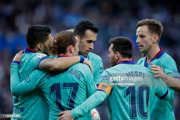 Antoine Griezmann of FC Barcelona celebrates 11 with Luis Suarez of FC Barcelona Sergio Busquets of FC Barcelona Lionel Messi of FC Barcelona Ivan...