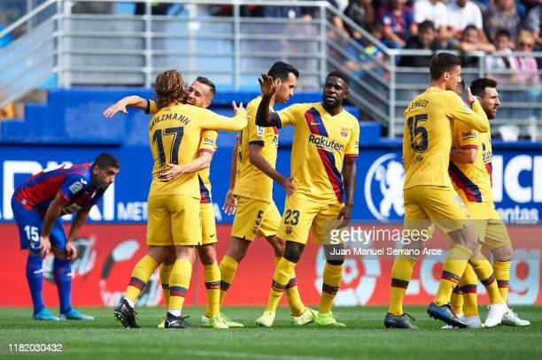 Antoine Griezmann of FC Barcelona celebrates after scoring goal during the Liga match between SD Eibar SAD and FC Barcelona at Ipurua Municipal...