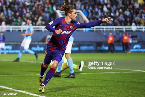 Antoine Griezmann of FC Barcelona celebrates after scoring his team's second goal during the Copa del Rey Round of 32 match between UD Ibiza and FC...