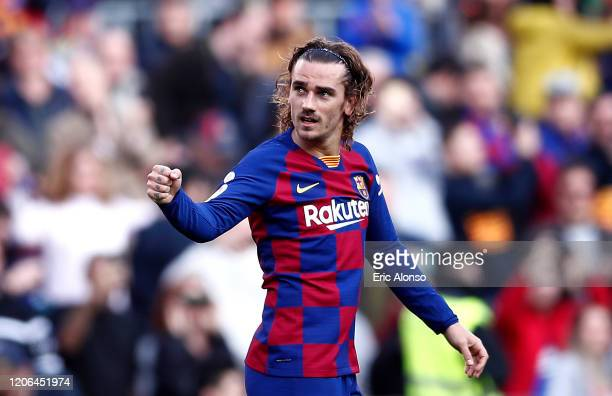 Antoine Griezmann of FC Barcelona celebrates after scoring his team's first goal during the La Liga match between FC Barcelona and Getafe CF at Camp...