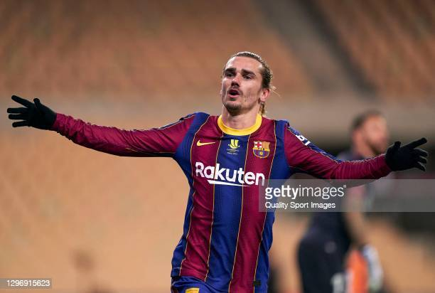 Antoine Griezmann of FC Barcelona celebrates after scoring his team's second goal during the Supercopa de Espana Final match between FC Barcelona and...