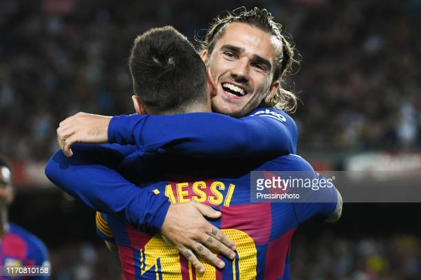 Antoine Griezmann of FC Barcelona celebrates his goal with Lionel Messi of FC Barcelona during the Liga match between Barcelona and Villarreal on...