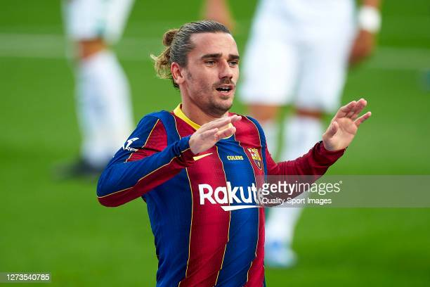 Antoine Griezmann of FC Barcelona celebrates his team's first goal during the Joan Gamper Trophy match between FC Barcelona and Elche CF at Camp Nou...