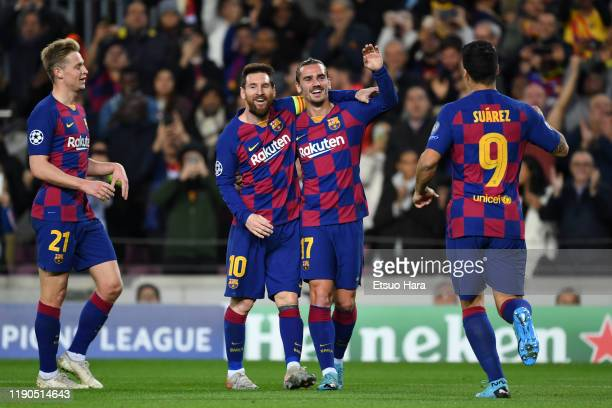 Antoine Griezmann of FC Barcelona celebrates scoring his side's third goal during the UEFA Champions League group F match between FC Barcelona and...