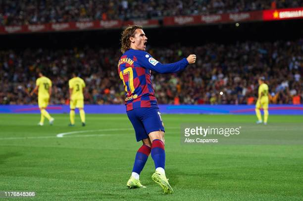 Antoine Griezmann of FC Barcelona celebrates scoring the opening goal during the Liga match between FC Barcelona and Villarreal CF at Camp Nou on...