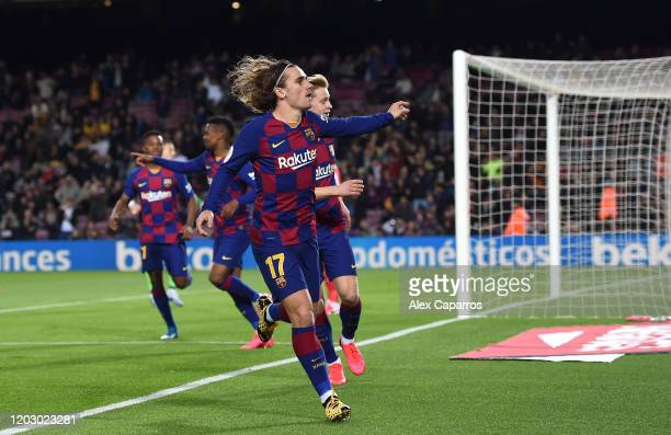Antoine Griezmann of FC Barcelona celebrates scoring the opening goal during the Copa del Rey Round of 16 match between FC Barcelona and CD Leganes...