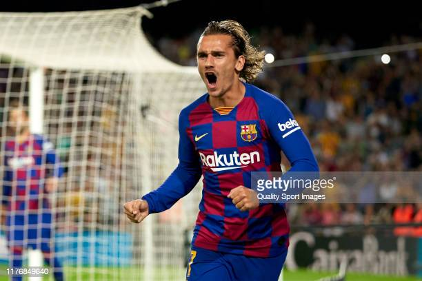 Antoine Griezmann of FC Barcelona celebrates their team's first goal during the Liga match between FC Barcelona and Villarreal CF at Camp Nou on...