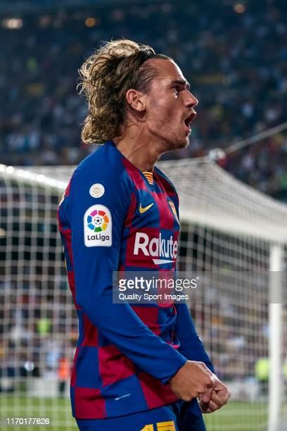 Antoine Griezmann of FC Barcelona celebrates their team's second goal during the Liga match between FC Barcelona and Real Betis Balompie at Camp Nou...