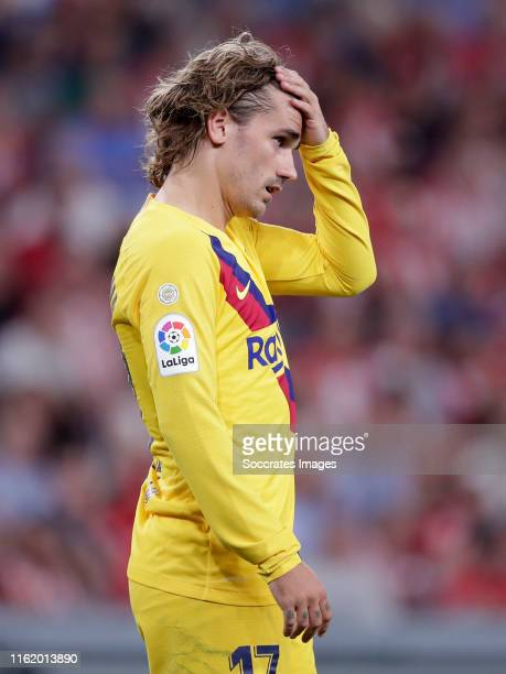 Antoine Griezmann of FC Barcelona during the La Liga Santander match between Athletic de Bilbao v FC Barcelona at the Estadio San Mames on August 16...