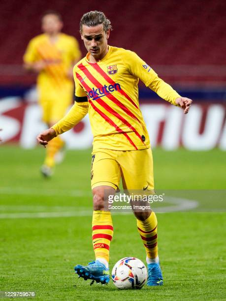 Antoine Griezmann of FC Barcelona during the La Liga Santander match between Atletico Madrid v FC Barcelona at the Estadio Wanda Metropolitano on...