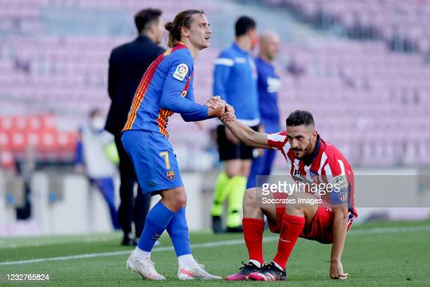 Antoine Griezmann of FC Barcelona, Koke of Atletico Madrid during the La Liga Santander match between FC Barcelona v Atletico Madrid at the Camp Nou...